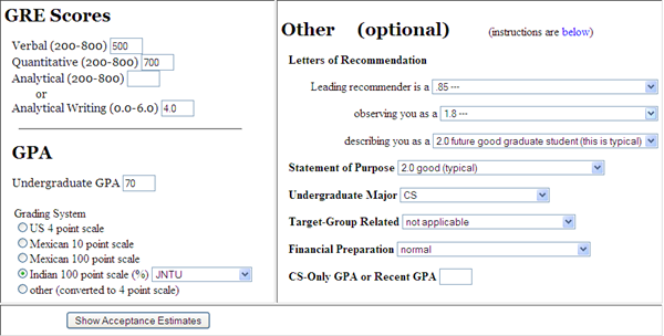US University Acceptance Estimator